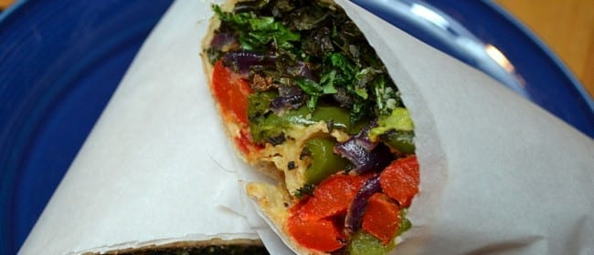 Roasted Vegetable and Hummus Wrap