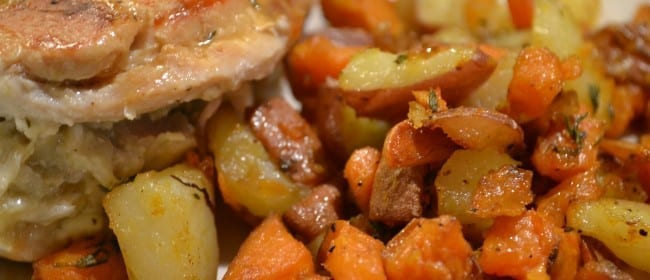 Roasted Red & Sweet Potatoes