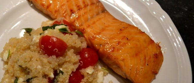 Maple-Lemon Glazed Salmon with Feta Quinoa