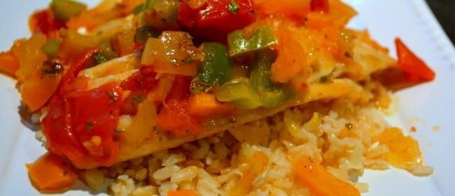 Spicy Louisiana Tilapia Fillets with Sautéed Veggie Relish