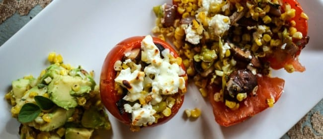 Baked Tomatoes with Corn and Goat Cheese